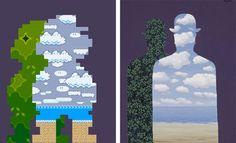 マグリットの有名な絵画をスーパーマリオの世界で表現