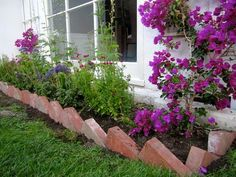 Butterfly Garden with Turned Red Brick Edge