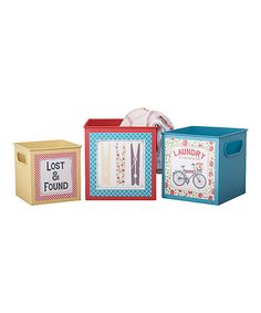 Look at this Square Metal Laundry Container - Set of Three on #zulily today!