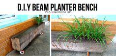 DIY beam planter bench