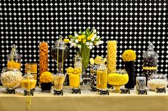 Yellow, white, and black candy buffet, starring Nuts.com candy. #nutsdotcom and #wedding