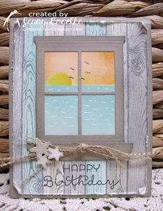 Giddy Stamper: Beach Window ~ HSS220 - SU - Hearth and Home die, Sea Street & Cottage Greetings stamp sets