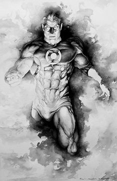 I have been having fun doing these black and white gouache pieces. They are fairly simple, fun for me and relaxing. I have started my next commission th. Green Lantern Myst by Eric Meador Green Lantern Corps, Green Lantern Green Arrow, Green Lantern Hal Jordan, Green Lanterns, Green Lantern Tattoo, Heros Comics, Dc Comics Characters, Arte Dc Comics, Human Figure Drawing