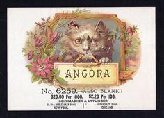 Cigar Box Inner Sample Cigar Label - ANGORA - Schumacher & Ettlinger - CAT