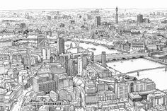 London Panorama Drawing - the view from the Shard by Mike Hall, via Behance