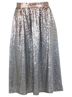 Silver Ombre Sequin Midi Skirt