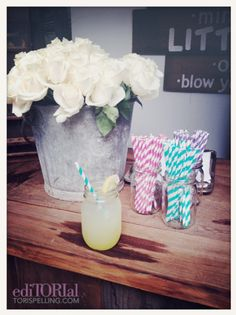 straws in mason jars~Tori Spelling's Glamping Party to Launch Little Maven