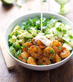 Spicy Shrimp and Avocado Salad with Miso Dressing