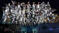 Clone Troopers: Top L-R: Phase II Trooper, Naval Officer, Boost, Commander Thire, Jek, Rys, Sinker, Camouflaged ARF Trooper, Phase I Trooper  Middle L-R: Cold Assault Trooper, Hardshot, Oddball, Waxer, Boyle, Commander Stone, Commander Gree, Commander Fox, Commander Fil, ARF Trooper, Coruscant Guard  Bottom L-R: Dogma, Commander Bly, Commander Colt, Commander Wolffe, Warthog, Commander Cody, Captain Rex, Fives, Hardcase, Jesse, Tup, Kix, Commander Havoc