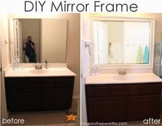 How to DIY a frame for a mirror.  Tutorial at houseofhepworths.com