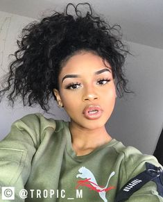 Follow: @Tropic_M for more✨❣️ Black Girls Hairstyles, Cute Hairstyles, Curly Hair Styles, Natural Hair Styles, Bombshell Beauty, Pretty Females, Hair Makeup, Glam Makeup, Selfies