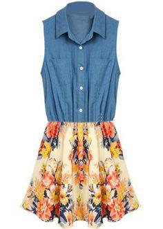 Blue Denim Lapel Sleeveless Floral Chiffon Dress - Sheinside.com