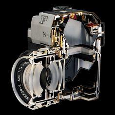 Nikon F Photomic camera cutaway (JCII Camera Museum) Antique Cameras, Old Cameras, Vintage Cameras, Nikon F2, Camera Nikon, Camera Photography, Digital Photography, Camera Website, Perfect Model