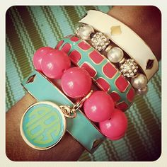pink and turquoise bracelets. love other than the monogram. Jewelry Box, Jewelery, Jewelry Accessories, Fashion Accessories, Modelos Fashion, Bling, Look At You, Diamond Are A Girls Best Friend, Swagg