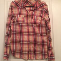 Pink, yellow, white and black plaid button up Pink, yellow, white and black plaid button up shirt.  Long sleeve.  Buttons have pearl-accent.  2 small pockets on front.  100% cotton.  Gently worn. Mossimo Supply Co Tops Button Down Shirts