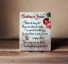 Christmas in Heaven Sign, - Poem with Chair, What do they Do, Christmas Gift In Memory Of - Ceramic Plaque - Christmas Remembrance Idea Christmas In Heaven Poem, Christmas Bible, Christmas Wood, Christmas Quotes, Christmas Signs, Homemade Christmas, Diy Christmas Gifts, Simple Christmas, Christmas Wreaths