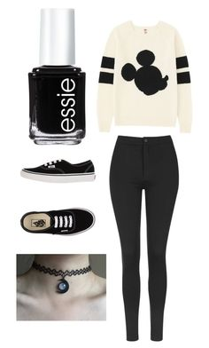"""Untitled #33"" by dadacookie on Polyvore featuring Uniqlo, Topshop, Essie and Vans"