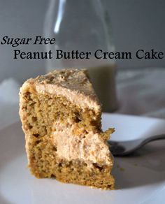 A rich peanut butter cream cake with a surprise filling that is sugar free, gluten free and healthy.