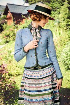 Blue dirndl jacket and patterned skirt