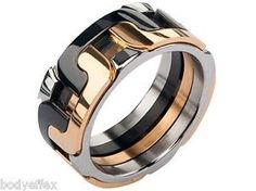 BOLD MENS INOX SILVER BLACK GOLD IP STAINLESS STEEL INTERLOCK POLISHED BAND RING | eBay
