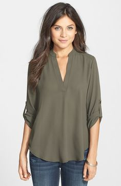 I like this top because it's professional, yet army green. I don't like how deep the v-neck goes, but a cami underneath would fix that.