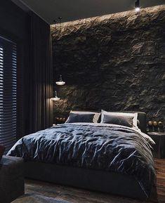 Modern Interior Design ( _ 🏠 I personally am a huge fan of dark themes! Design Loft, Loft Interior Design, Home Room Design, House Design, Black Bedroom Design, Luxury Bedroom Design, Master Bedroom Interior, Bedroom Modern, Style Loft