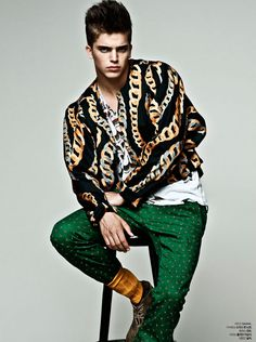 River Viiperi shot by Arcin Sagdic and styled by Bodo Ernie with a beautiful selection of patterns, for the September 2012 issue of L'Officiel Hommes Korea.