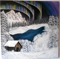 krynabijoux: Iarna .... Acrilic pe panza Art Deco, Art Decor