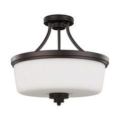 Canarm Jackson 15.75-in W Oil-Rubbed Bronze Opalescent Glass Semi-Flush Mount Light