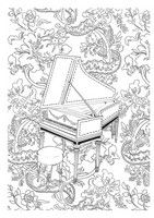 Adult coloring page Harpsichord
