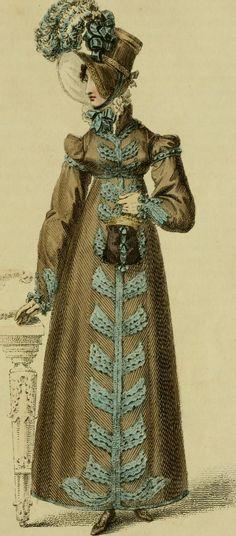 Ackermann's Repository, Walking Dress, February 1818 Regency Dress, Regency Era, Historical Costume, Historical Clothing, 1800s Fashion, Vintage Fashion, French Fashion, Victorian Fashion, Gothic Fashion