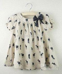 Wholesale Cherokee 0726 Girls Dress Short Sleeve Printed Deer Cotton Fashion Bowknot Dresses Khaki, Free shipping, $7.3/Piece   DHgate Mobile