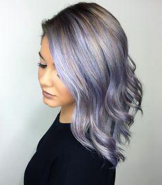 Silver And Pastel Purple Balayage Highlights