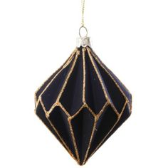 Tesco direct: Set of Three Black Glass & Gold Glitter Geometric Christmas Tree Baubles
