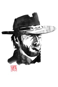 Clint eastwood in the a Sergio Leone movie, music by the late Ennio moriconne #enniomoriconne #clinteastwood #cowboy #sumie #wallart Sumi E Painting, Sergio Leone, Canvas Art, Canvas Prints, D D Characters, Art Original, Clint Eastwood, Ink Art, Oeuvre D'art