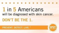 1 in 5 Americans will be diagnosed with skin cancer. Decrease your chances with a daily SPF 35 or higher and learn the signs of early skin cancer detection