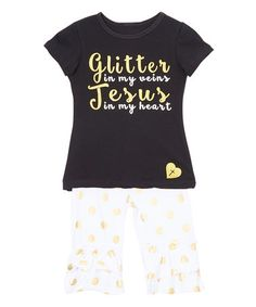 Look what I found on #zulily! Gold 'Glitter in My Veins' Tee & Pants - Infant, Toddler & Girls #zulilyfinds