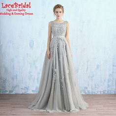 Find More Evening Dresses Information about Elegant Grey A Line Beaded Lace Applique Evening Dresses 2016 Formal Women Birthday Long Party Prom Gowns robe de soiree TE155,High Quality Evening Dresses from LaceBridal on Aliexpress.com