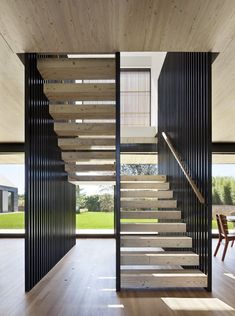 Modern Stairs // wood and steel stairs at Piersons Way designed by bates + mass architects