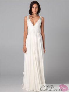 Fashion A-line V-neck Beading Sleeveless Floor-length Chiffon Dress - Evening Dresses - Special Occasion Dresses - CDdress.com