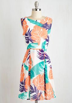 More Than Meets the Island Dress. One glance at this tropical white dress simply wont do it justice! #multi #modcloth