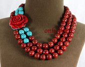 $30 Coral And Turquoise  Necklace 18-20inch Chunky Coral Necklace Statement Turquoise Necklace -Free Shipping TN00204