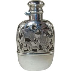 #Vintage #ValentinesDay #giftsforhim at www.rubylane.com @rubylanecom -- Antique Crystal Flask with Striking Sterling Silver Overlay and Fitted Cup - c 1900