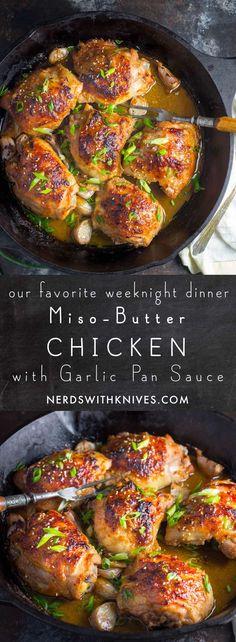 Miso-Butter Chicken With Garlic Pan Sauce Chicken Recipes, Chicken Potluck Recipe, Turkey Recipes, Meat Recipes, Garlic Sauce For Chicken, Miso Chicken, Butter Chicken, Baked Chicken, Miso Sauce Recipe