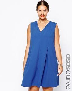 ASOS Curve Exclusive Plus Size Swing Dress With Pleat Neck Detail - Cobalt
