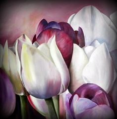 purple tulips – Erika Whitby – Join the world of pin Acrylic Flowers, Abstract Flowers, Watercolor Flowers, Watercolor Paintings, Tulip Painting, Painting & Drawing, Arte Floral, Flower Art, Canvas Art