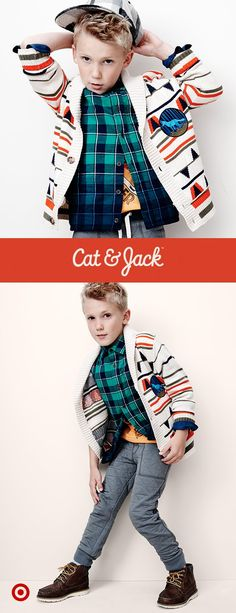 Cool layers—like quilted joggers and woven sweaters—are totally in with Cat & Jack's winter looks.