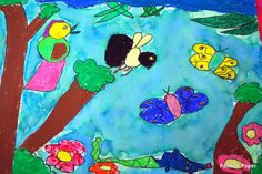 oil pastels and water color art