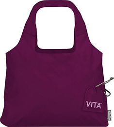 ChicoBag Vita Compactable Reusable Shopping Tote/Grocery Bag with Pouch, Boysenberry, 19 x 12.5-Inch Bag, 4 x 4-Inch Pouch