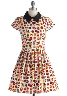 Poise and Click Dress - Cotton, Mid-length, Novelty Print, Pockets, Casual, Fit & Flare, Short Sleeves, Collared, Multi, Red, Yellow, Black, White, Vintage Inspired